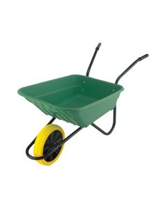 Walsall 90L Green Polypropylene Wheelbarrow - Puncture Proof - WALSHGPPDD