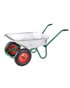 Walsall 90L Galvanised Windsor Twin Wheelbarrow - WALWGVTWPDD