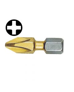 Witte Phillips No.1pt Titanium Coated Screwdriver Bits 25mm (Card of 2) - WIT26791