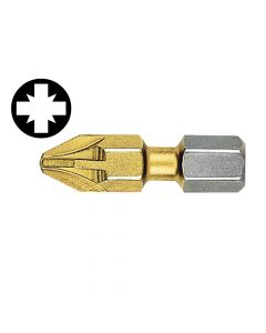 Witte Pozidriv 1pt Titanium Coated Screwdriver Bits 25mm (Card of 2) - WIT26821