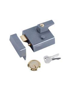 Yale P1 Double Security Nightlatch 60mm Backset DMG Dark Grey Finish Visi - YALP1DMGPB