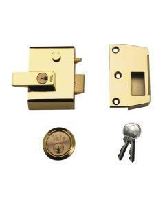 Yale P2 Double Security Nightlatch 40mm Backset Brasslux Finish Visi - YALP2B