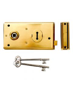Yale P401 Rim Lock Polished Brass Finish 138 x 76mm Visi - YALP401PB
