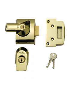 Yale BS2 Nightlatch British Standard Lock 40mm Backset Brasslux Finish Visi - YALPBS2BLX