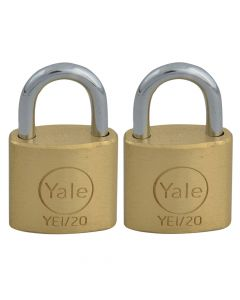 Yale YE1 Brass Padlock 20mm (2 Pack) - YALYE1202PK