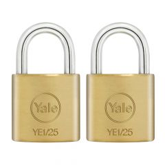Yale YE1 Brass Padlock 25mm (2 Pack) - YALYE1252PK