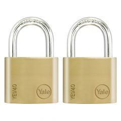 Yale YE1 Brass Padlock 40mm (2 Pack) - YALYE1402PK