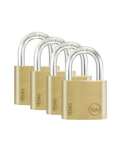 Yale YE1 Brass Padlock 40mm (4 Pack) - YALYE1404PK