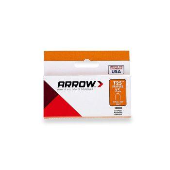 "Arrow T25 Round Crown Staples White 10mm 3/8"" (1000 Box) - 256W"