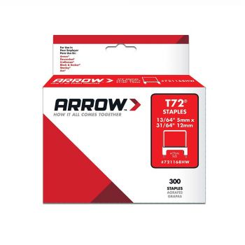 Arrow T72 Clear Insulated HardWood Staples 12 x 5mm (300 Box) - 721168HW