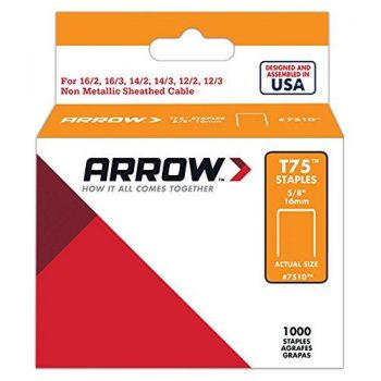 "Arrow T75 Staples 16mm 5/8"" (1000 Box) - 7510"