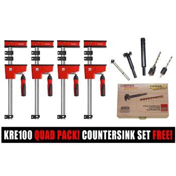 Bessey K Body KRE100 1000/95 Quad Pack | 7 Piece Drill Countersink/Forstner Bit Set FREE