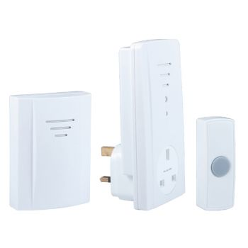 Byron Wireless Doorbell Kit with Portable & Plug Through Chimes 50m - BYRB323