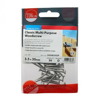 Timco Classic Multi-Purpose Screws - PZ - Double Countersunk - Stainless Steel - Pack