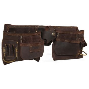 DWG Dark Brown Oil Tan Leather Multi-Pocket Double Work Pouch With Belt - DWGCA30003