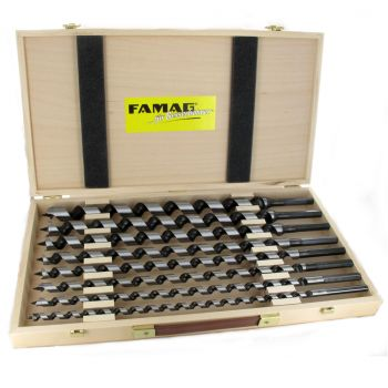 Famag Lewis Auger Bit set of 8pieces in wooden case Overall Length 460mm - FAMF1410400