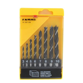 Famag Brad point drill BitCV steel, 8 piece set. 3,4,5,6,7,8,9,10mm in plastic case - FAMF3501508