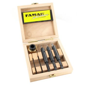 Famag Drill countersink set, 4 piece set. 4,5, 6 mm with depth stop, in wooden case. - FAMF3577504