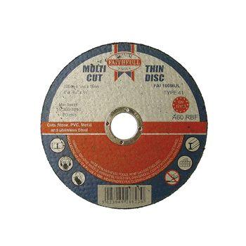 Faithfull Multi-Cut Cutting Discs 100 x 1.0 x 16mm (Pack of 10) - FAI10010MUL