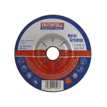 Faithfull Depressed Centre Metal Grinding Disc 100 x 5 x 16mm - FAI1005MDG