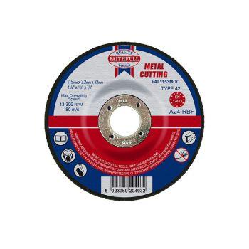 Faithfull Depressed Centre Metal Cut Off Disc 115 x 3.2 x 22mm - FAI1153MDC