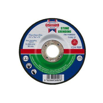Faithfull Depressed Centre Stone Grinding Disc 115 x 6 x 22mm - FAI1156SDG