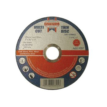 Faithfull Multi-Cut Cutting Discs 125 x 1.0 x 22mm (Pack of 10) - FAI12510MUL