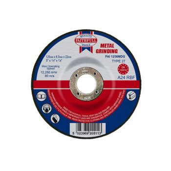 Faithfull Depressed Centre Metal Grinding Disc 125 x 6.5 x 22mm - FAI1256MDG