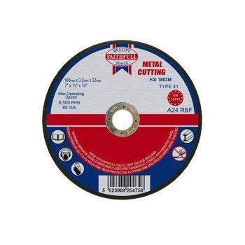 Faithfull Metal Cut Off Disc 180 x 3.2 x 22mm - FAI1803M