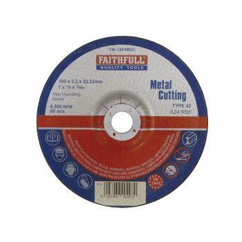 Faithfull Depressed Centre Metal Cut Off Disc 180 x 3.2 x 22mm - FAI1803MDC