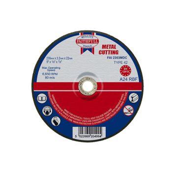 Faithfull Depressed Centre Metal Cut Off Disc 230 x 3.2 x 22mm - FAI2303MDC