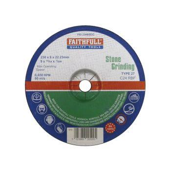 Faithfull Depressed Centre Stone Grinding Disc 230 x 6 x 22mm - FAI2306SDG