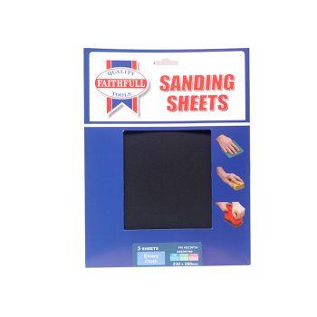 Faithfull Alox Cloth Sheets 280 x 230mm Assorted Fine, Medium & Coarse (3) - FAIAECSP3A