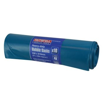 Faithfull Blue Heavy-Duty Rubble Sacks (10) - FAIBAGRS10H