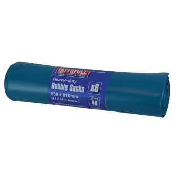 Faithfull Blue Heavy-Duty Rubble Sacks (6) - FAIBAGRS6H