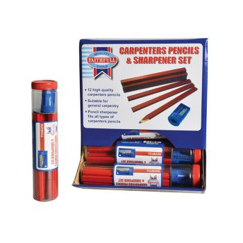 Faithfull Carpenters Pencils Red (12 x Tubes of 12 + Sharpener) - FAICPDISP