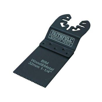 Faithfull Bi-Metal FlushᅠCutᅠWood/MetalᅠBlades 32mm (Pack 5) - FAIMFWM32B