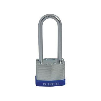 Faithfull Laminated Steel Padlock 40mm Long Shackle 3 Keys - FAIPLLAM40LS