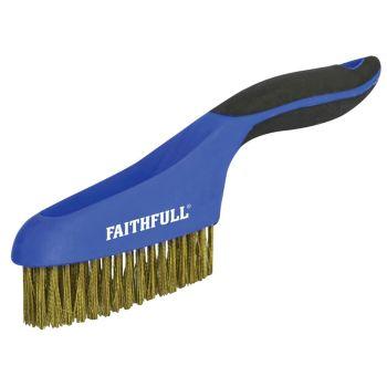 Faithfull Scratch Brush Soft Grip 4 x 16 Row Brass - FAISB164SB