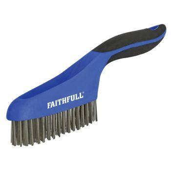 Faithfull Scratch Brush Soft Grip 4 x 16 Row Stainless - FAISB164SS