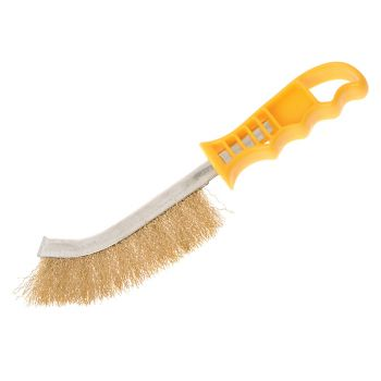 Faithfull Wire Scratch Brush Brass Yellow Handle - FAIWBHANDB
