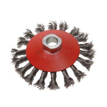Faithfull Conical Wire Brush 100mm M10 Bore 1.5 0.50mm Wire - FAIWBTC100MC