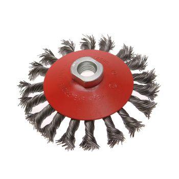 Faithfull Conical Wire Brush 115mm M14 Bore 2 0.50mm Wire - FAIWBTC115