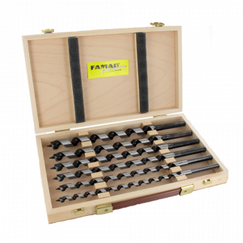 Famag Lewis Auger Bit set of 6 pieces Overall length 235mm in wooden case - FAMF1410201