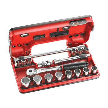 Facom 3/8in Drive Metric Socket Detection Box 18 Piece - FCMJLDBOX501