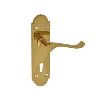 Forge Backplate Handle Lock - Gable Brass Finish - FGEHLOCGABBR