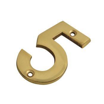 Forge Numeral No.5 - Brass Finish 75mm (3in) - FGENUM5BR75