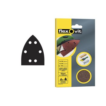 Flexovit Detail Hook & Loop Sanding Sheets 95x145mm Assorted (Pack 6) - FLV26508