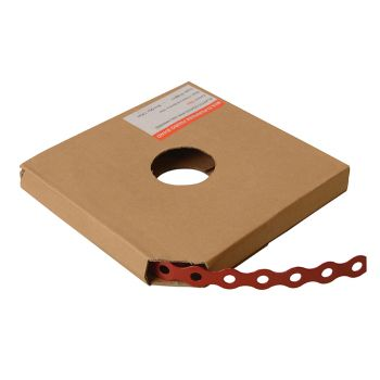 ForgeFix Red Plastic Coated Pre-Galvanised Band 17mm x 0.8 x 10m Box 1 - FORPCBR17