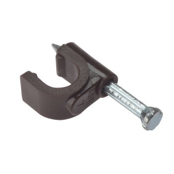 ForgeFix Cable Clip Round Coax Brown 6-7mm Box 100 - FORRCC67BR